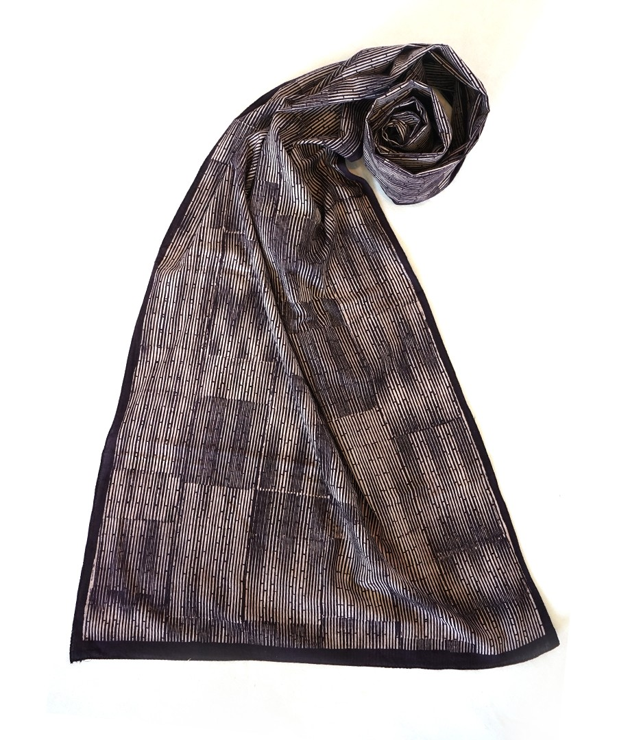 GREY FIELD(BLACK) -BAGH  HANDBLOCK PRINTED COTTON STOLE
