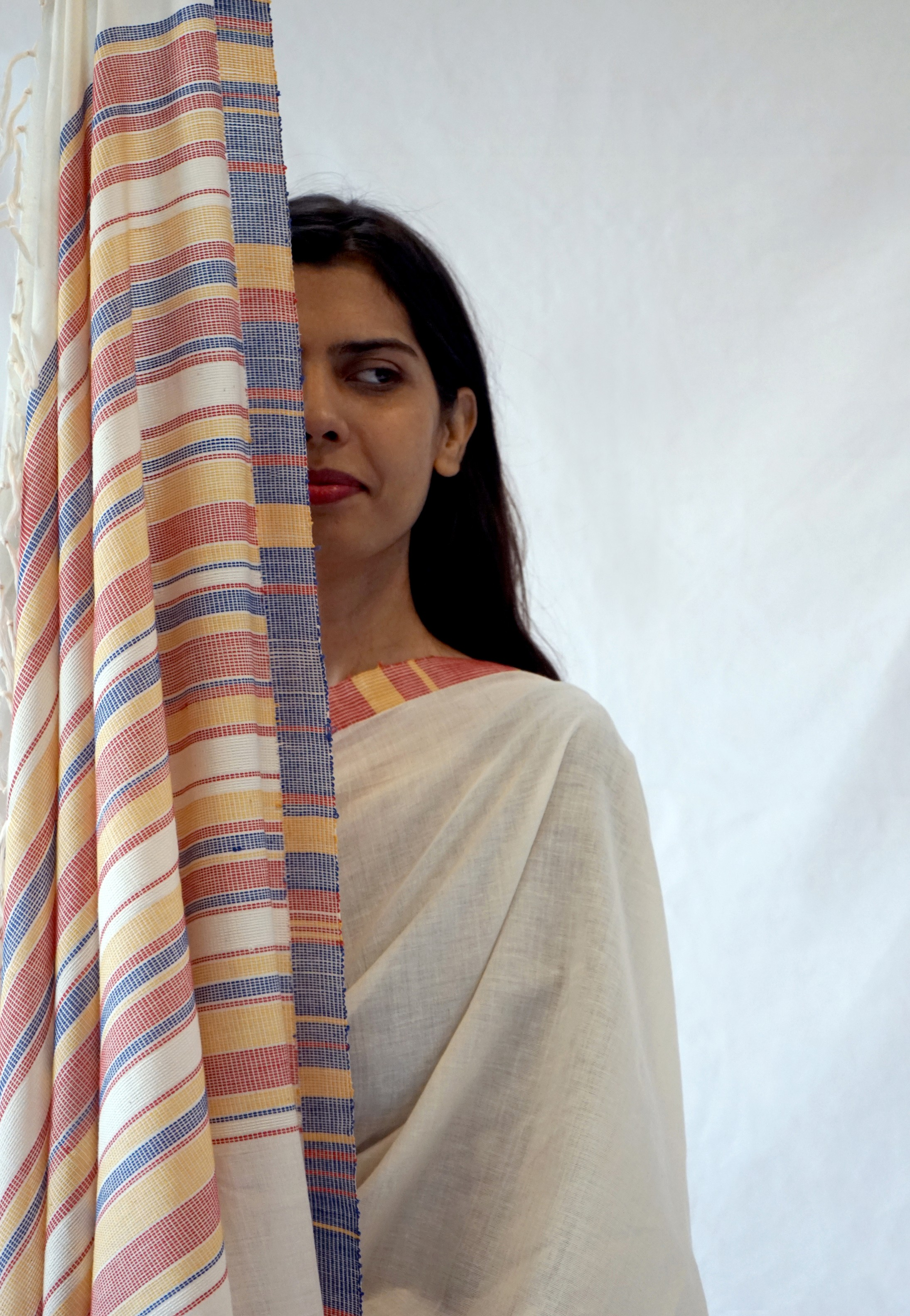 Bavabuti Weave | CLIMATE - White with Colourful Pallu Handwoven Cotton Saree