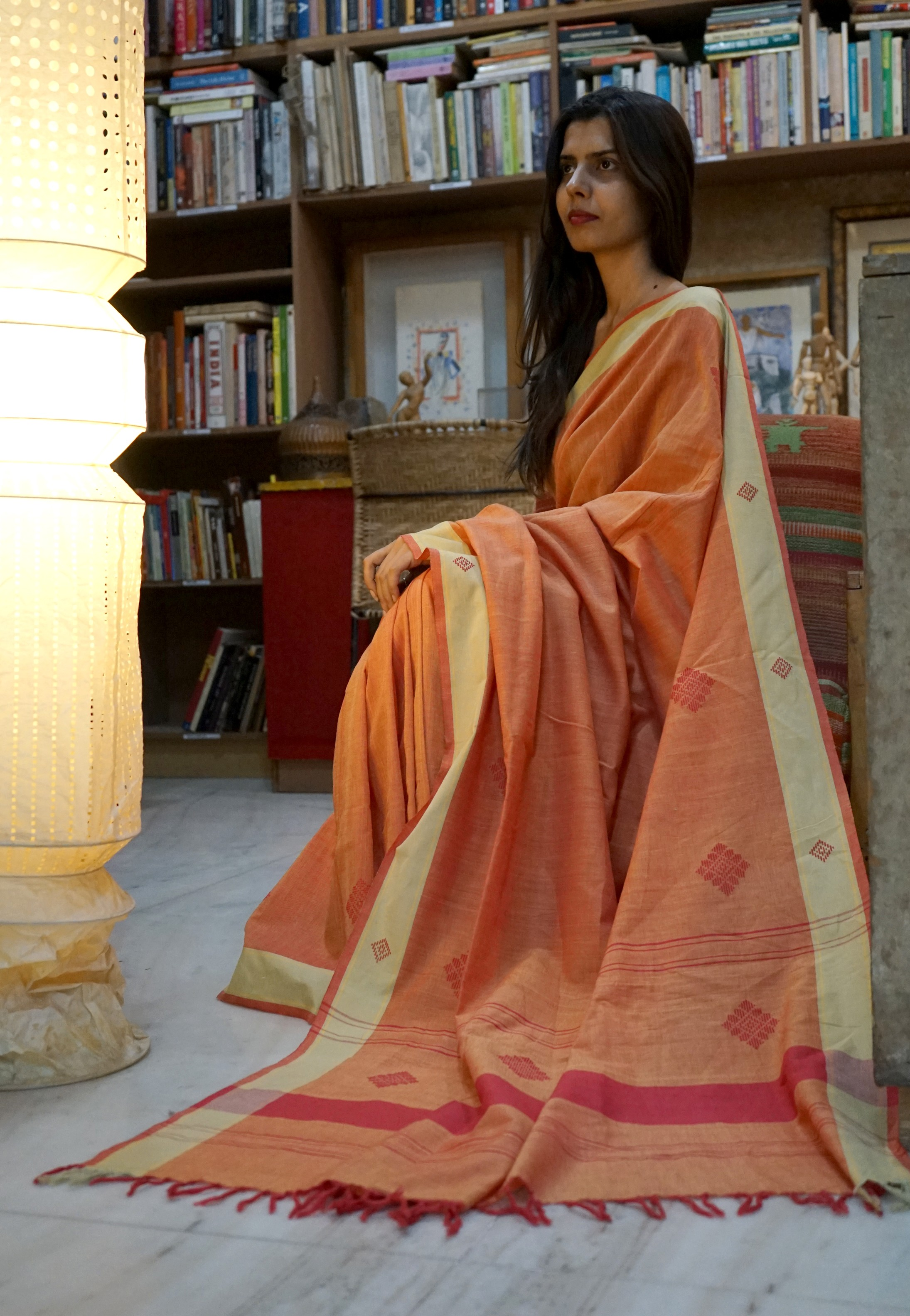 Bavanbuti Handloom Orange Cotton Sar