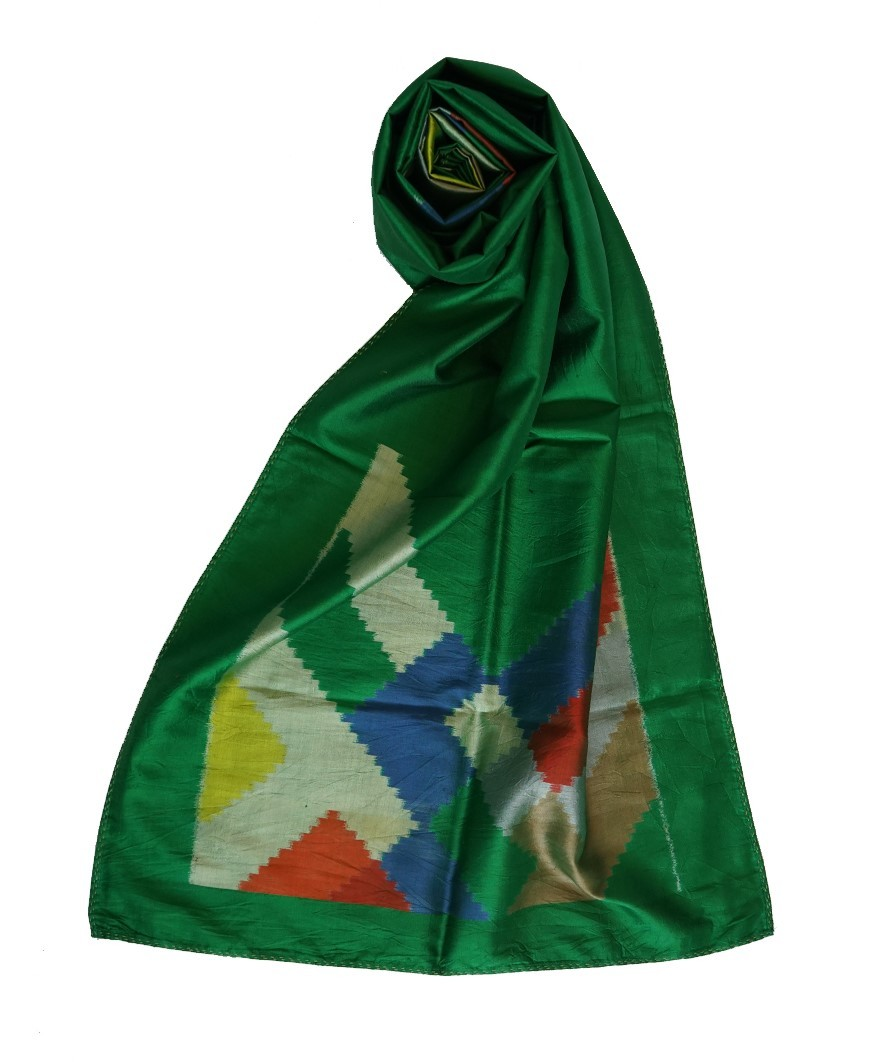 DIAGONAL (DARK GREEN)  HANDWOVEN IKAT  SILK STOLE