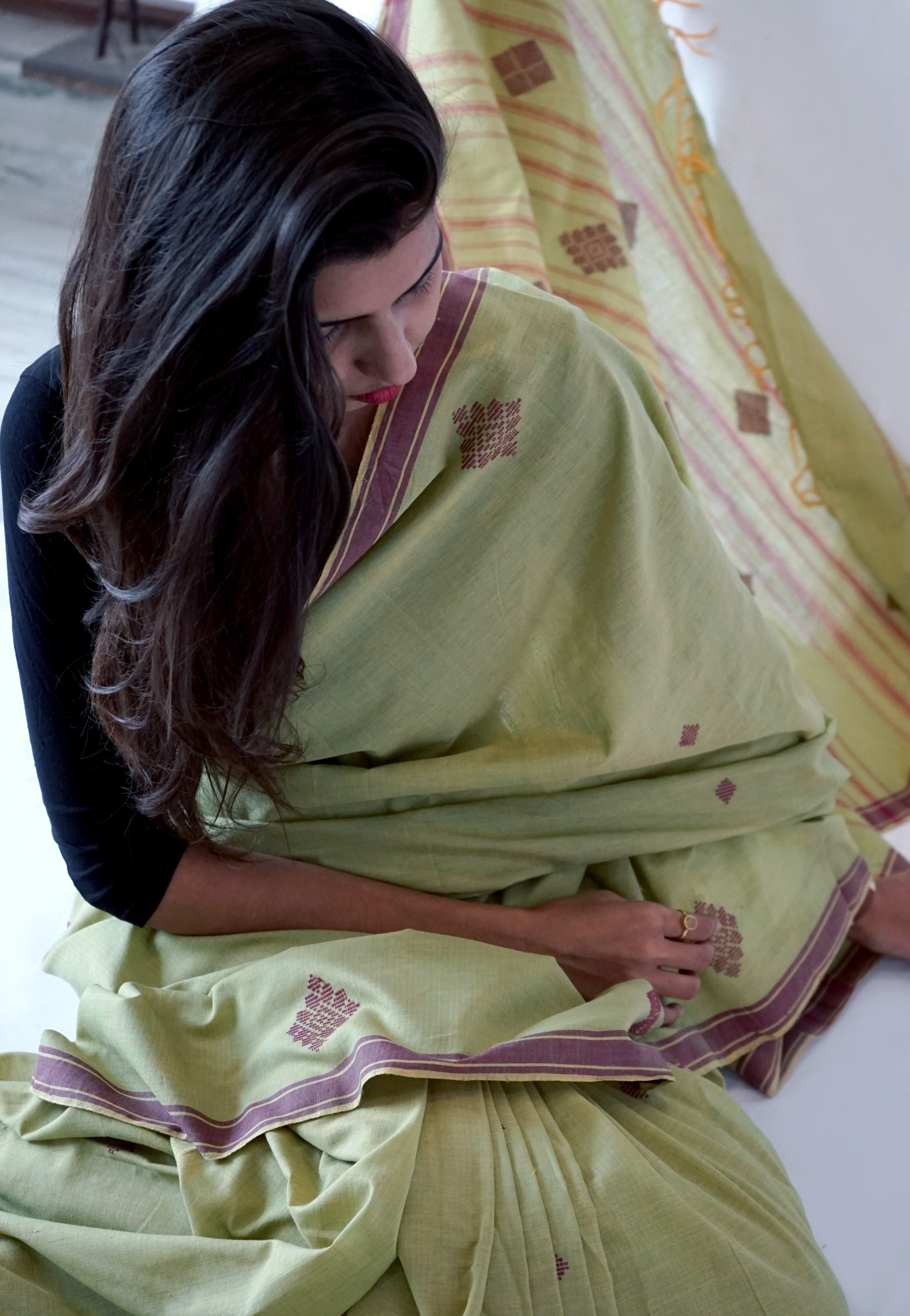Bavanbuti Handloom Light Green Cotton Saree