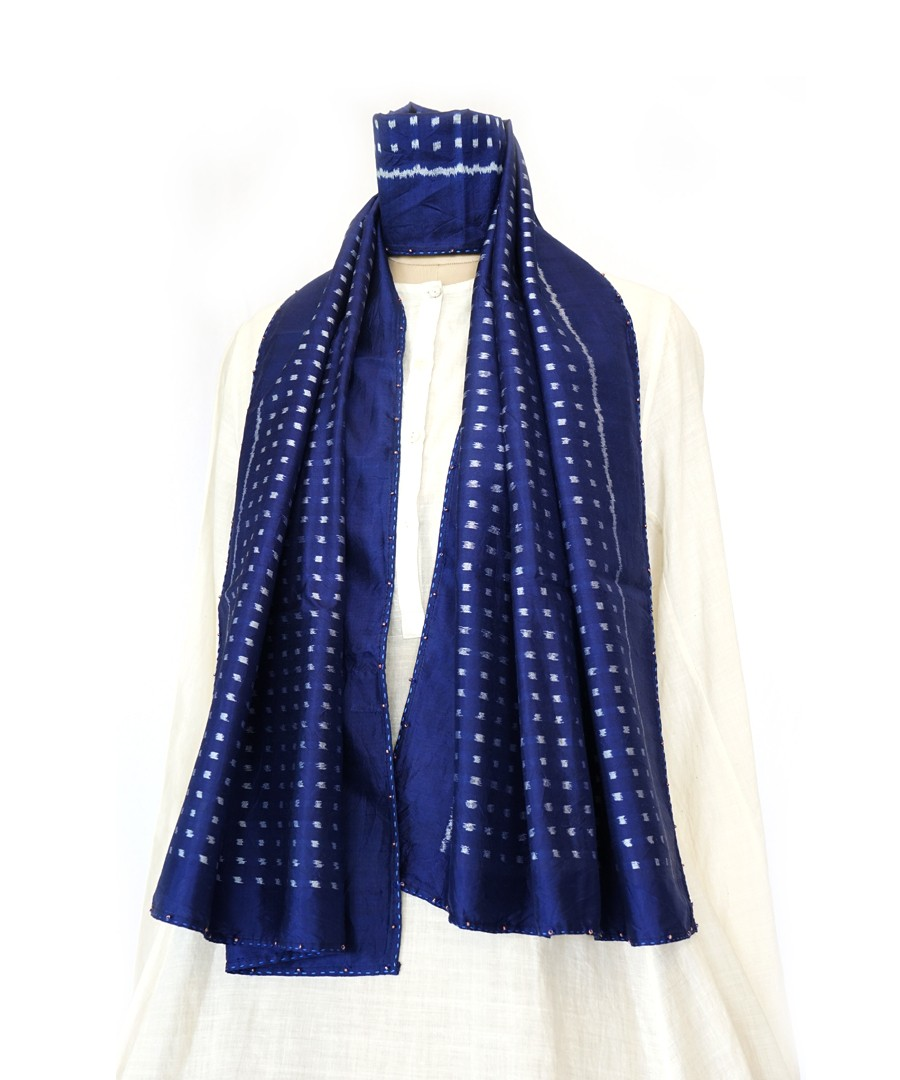 Dots - Navy blue handowven ikat silk stole