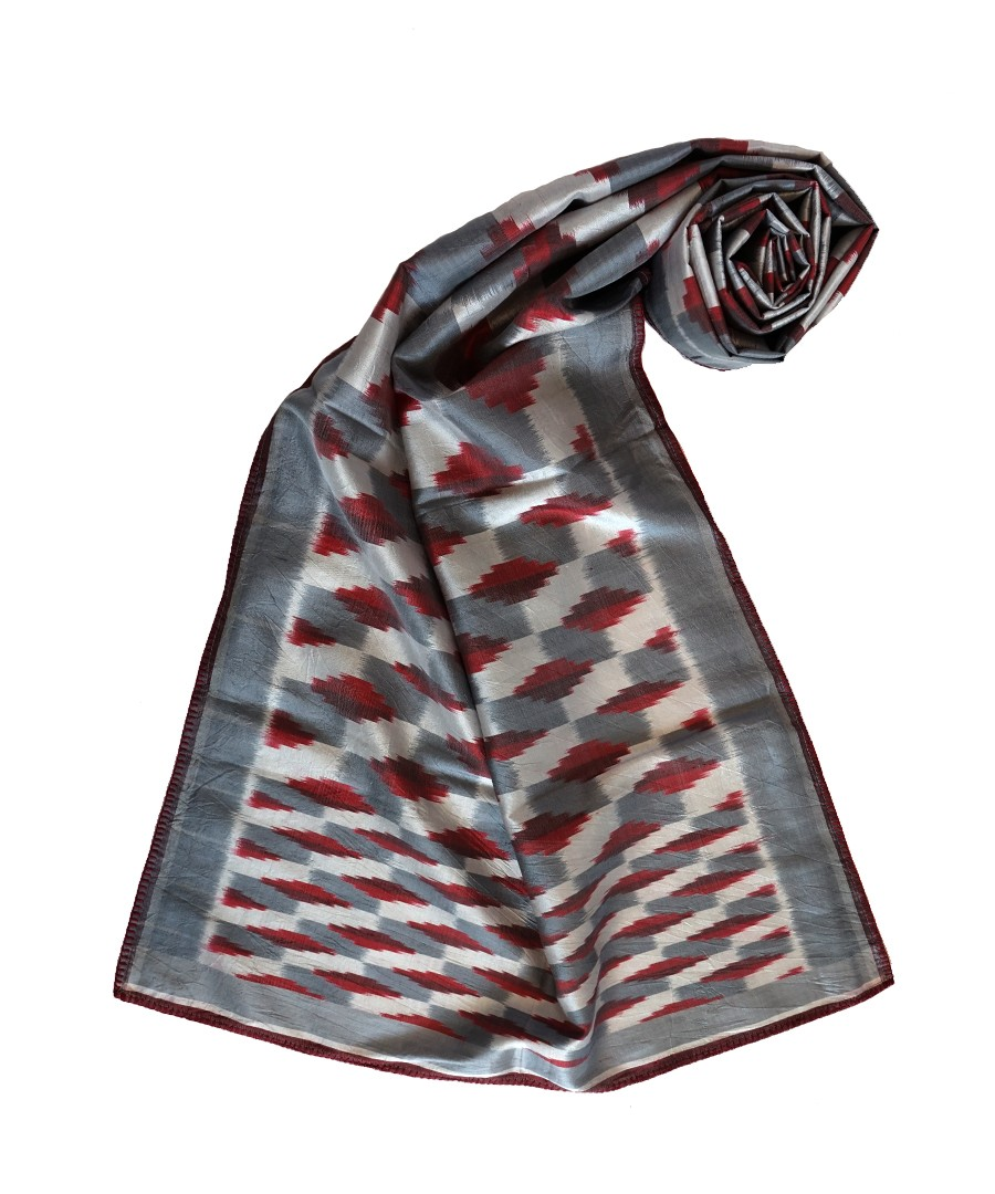 3D -GREY RED HANDWOVEN IKAT SILK STOLE