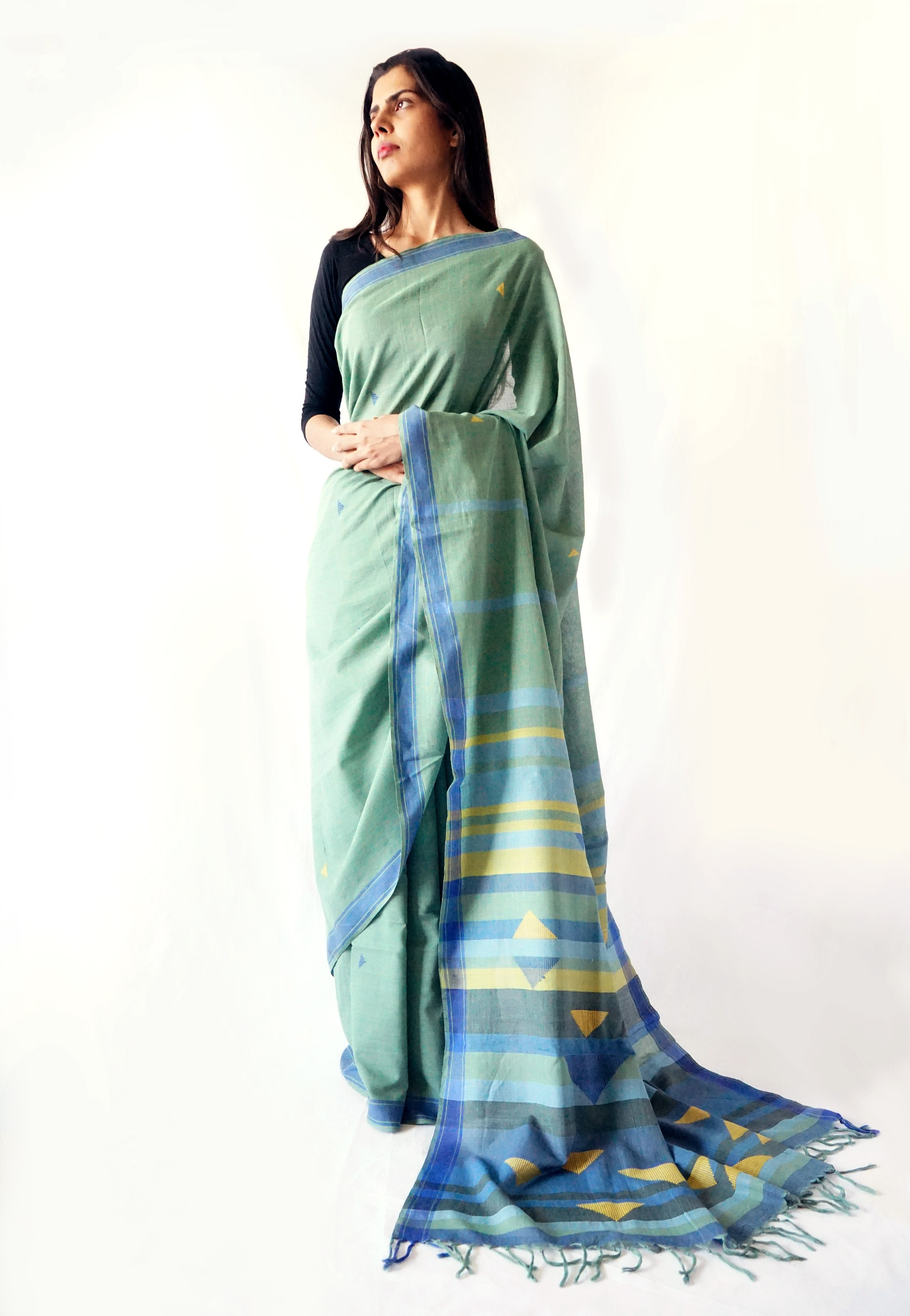Mint Blue Cotton Saree - Bavanbuti Handloom