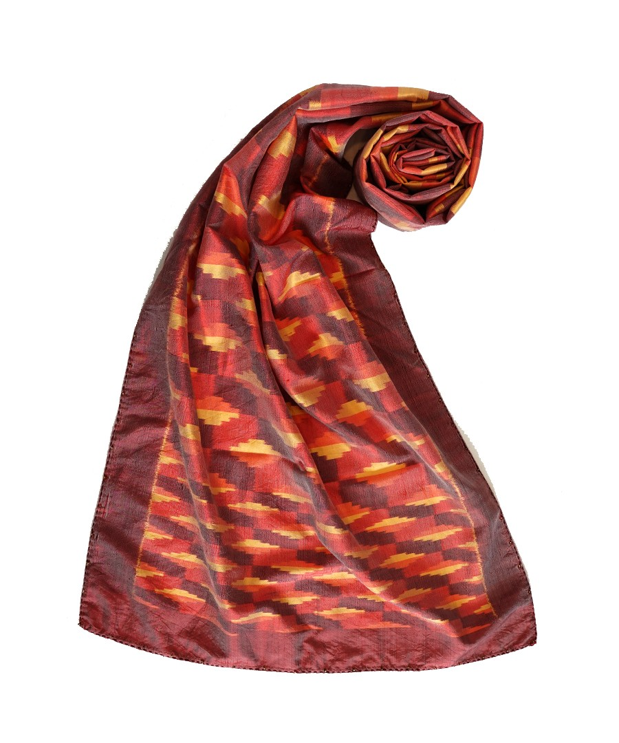 3D - ORANGE/RED - HANDWOVEN IKAT SILK STOLE
