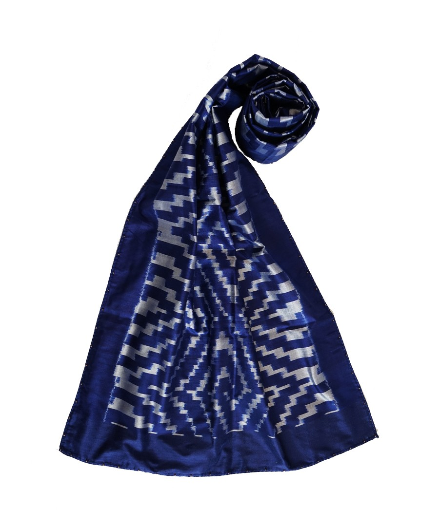 Optical (Navy blue) handwoven Ikat silk stole