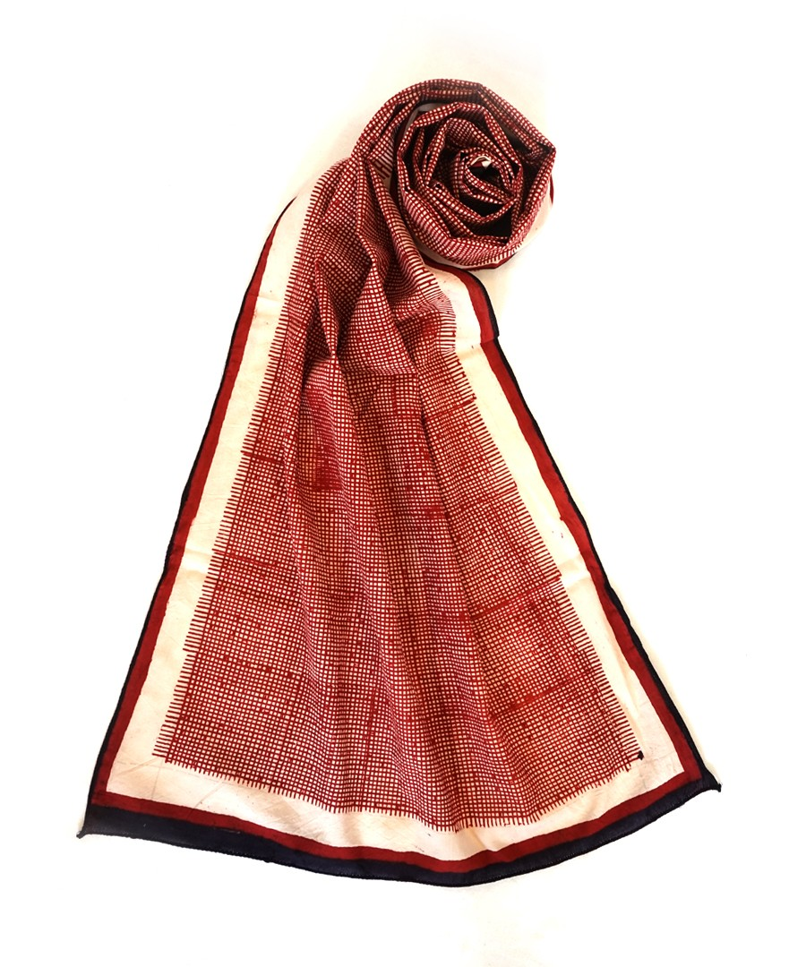 GRAPHIRE -RED BAGH HANDBLOCK PRINTED COTTON STOLE