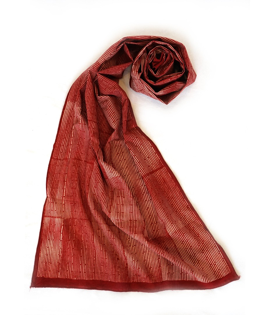 GREY FIELD (RED) -  BAGH HANDBLOCK PRINTED  COTTON STOLE