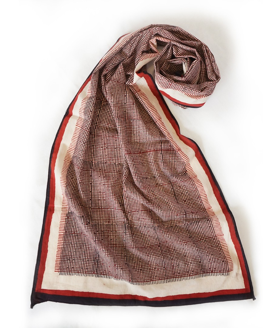 GRAPHIRE (RED/BLACK) BAGH HANDBLOCK PRINTED COTTON STOLE