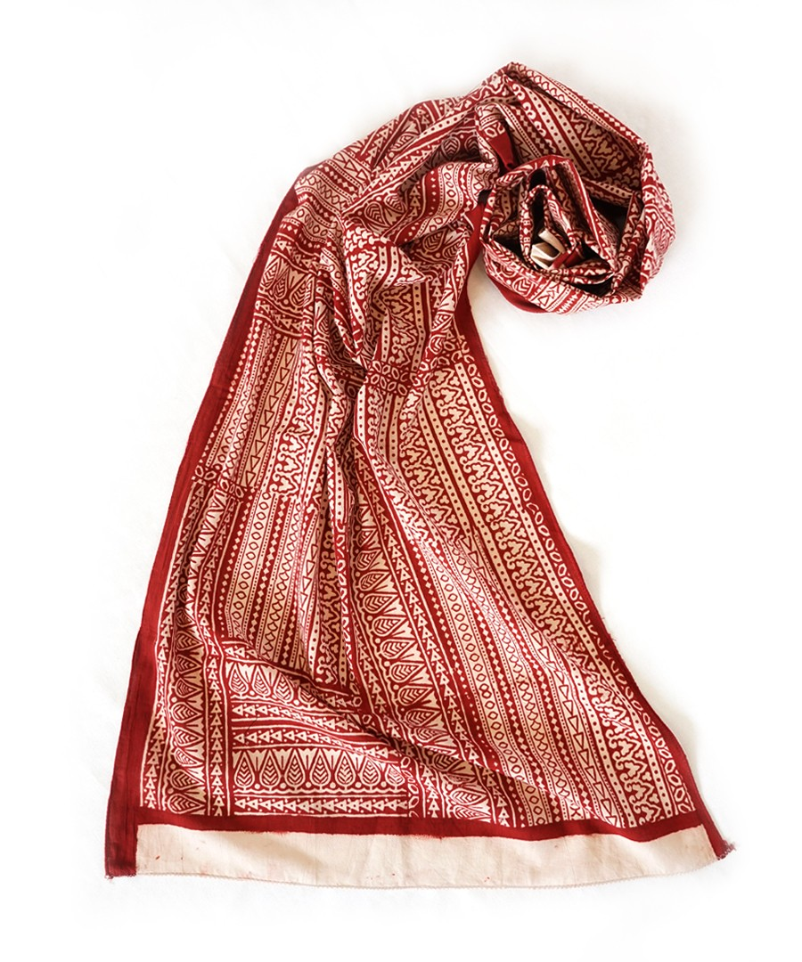 ADALAJ (RED ) BAGH HANDBLOCK PRINTED COTTON STOLE