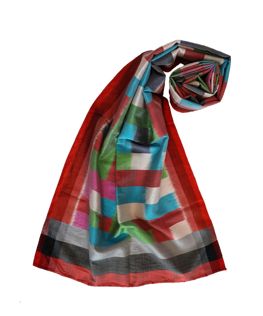 ABSTRACT MULTICOLOR IKAT HANDWOVEN SILK STOLE