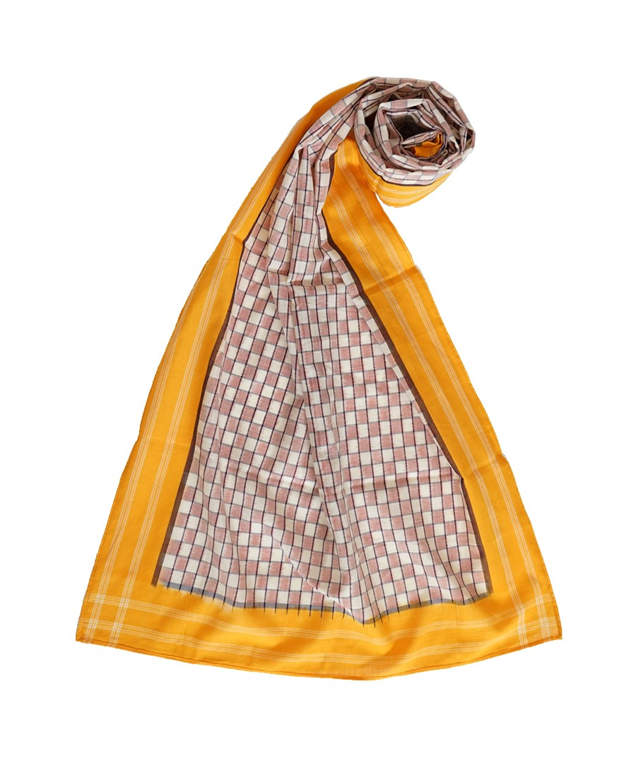 ABSTRACT (WHITE,RED  AND YELLOW) HANDWOVEN IKAT COTTON STOLE