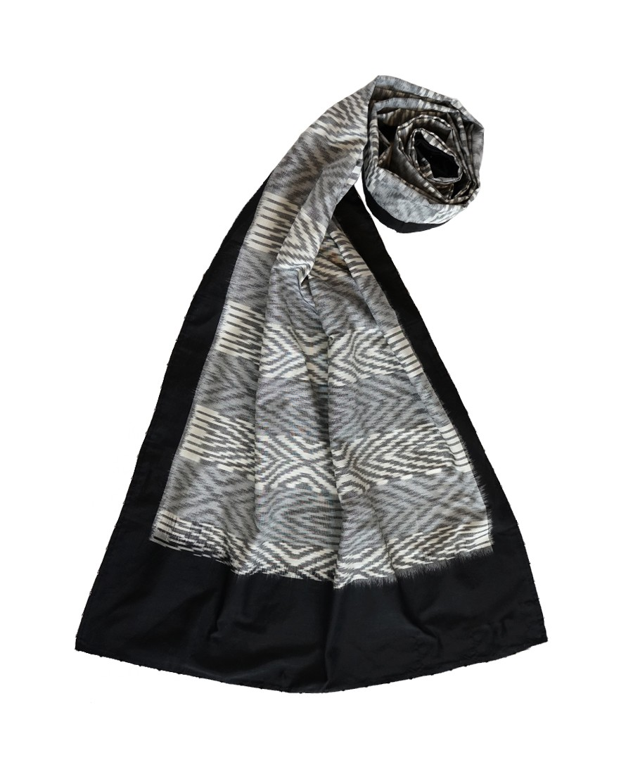 OPTICAL -(WHITE AND BLACK) HANDWOVEN IKAT SILK STOLE