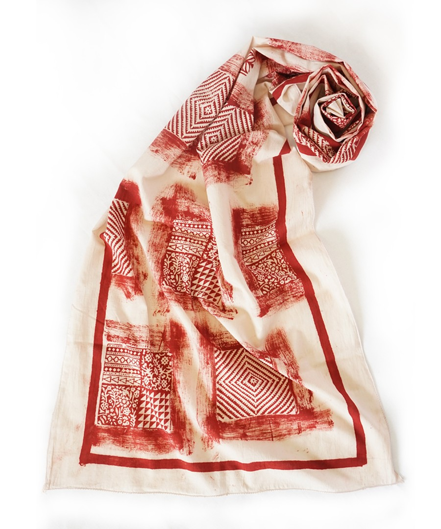 RED LITHO - BAGH HANDBLOCK PRINTED COTTON STOLE